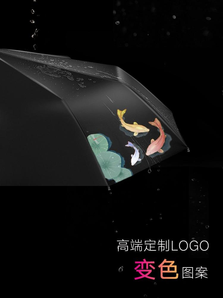 Women Men Umbrella Sun Decoration Protection Sunshade Folding Umbrella Color Changing Fish Portable Paraplu Rain Gear AG50ZS enlarge