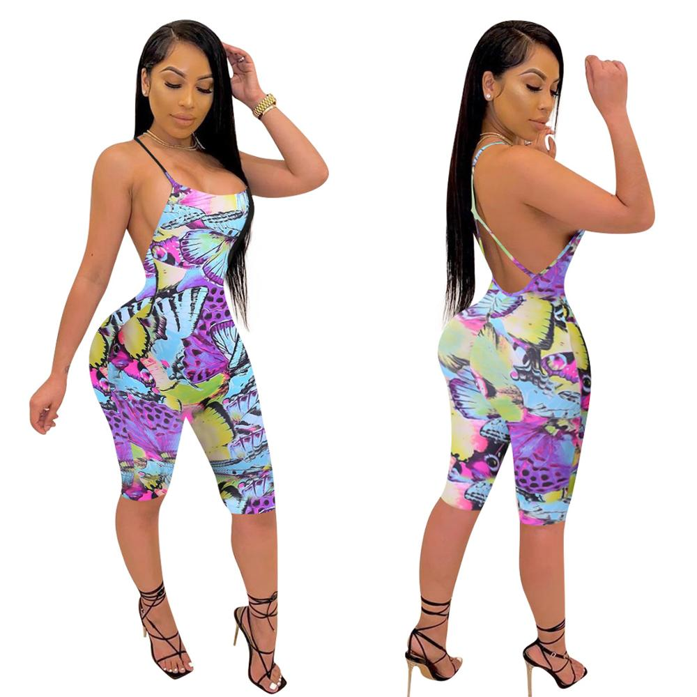 Adogirl Women Butterfly Print Short Jumpsuit Sexy Sleeveless Open Back Spaghetti Strap Romper Club Party One Piece Playsuit