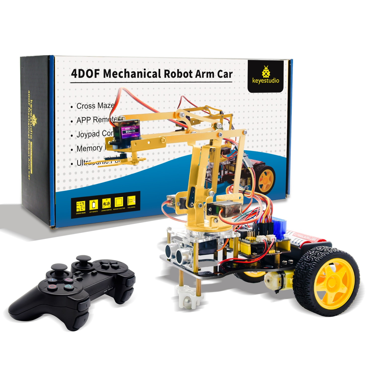 Keyestudio 4DOF Mechanical Arm  Robot Car Learning Starter Kit W/PS2 Contoller for Arduino Robot/Support Android &IOS недорого