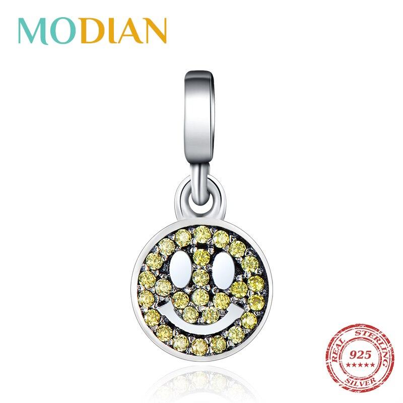 Modian nova venda 100% real 925 prata esterlina cristal redondo smiley encantos grânulos para as mulheres pulseira caber me pulseira & jóias diy