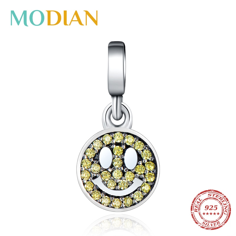 ¡Nueva oferta 100%! Abalorios de cristal Plata de Ley 925 auténtica con forma de cara sonriente de Modian, brazalete para mujer que se ajusta a mi pulsera y joyería DIY