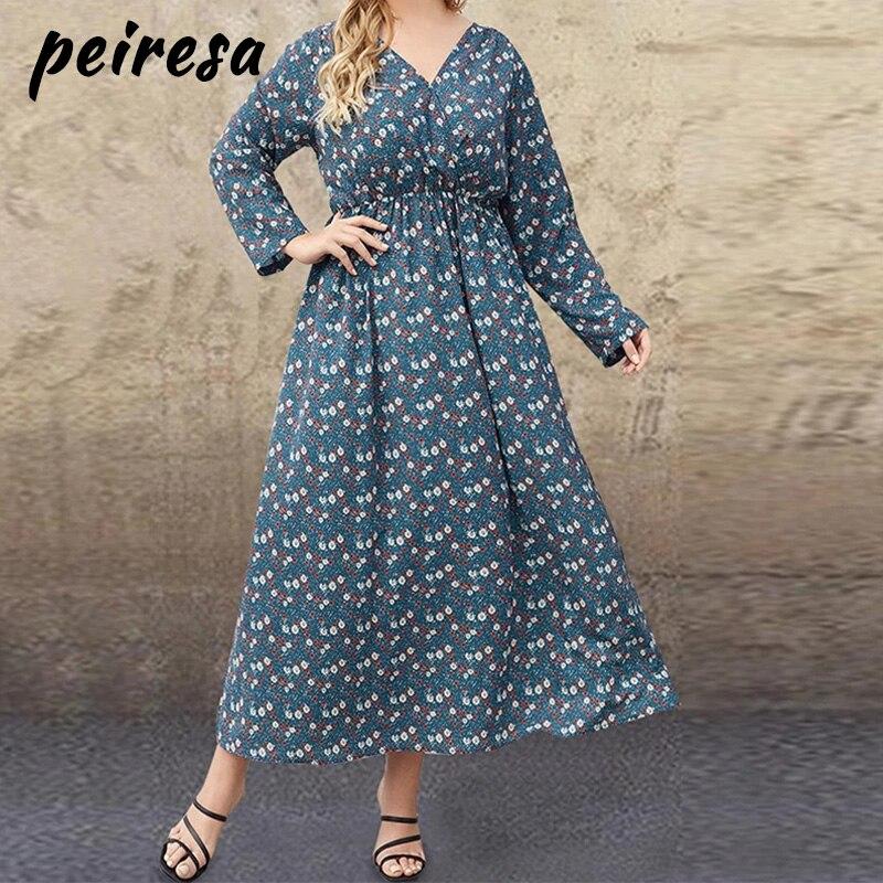 Plus Size 5XL Women V-Neck Printed Dress Autumn Long Sleeve high waist Maxi Long Dress Vintage Shirt Vestidos Femme Sundress