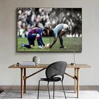 Toile retro avec etoiles de Football  affiches et imprimes de Diego Maradona Lionel Messi  decoration murale pour la maison  etude  salon  chambre a coucher