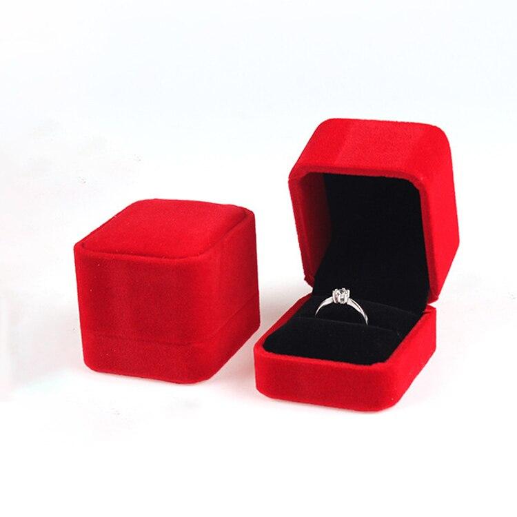 Caja de joyería de boda caja de regalo de compromiso caja de anillo rojo cajas de joyería