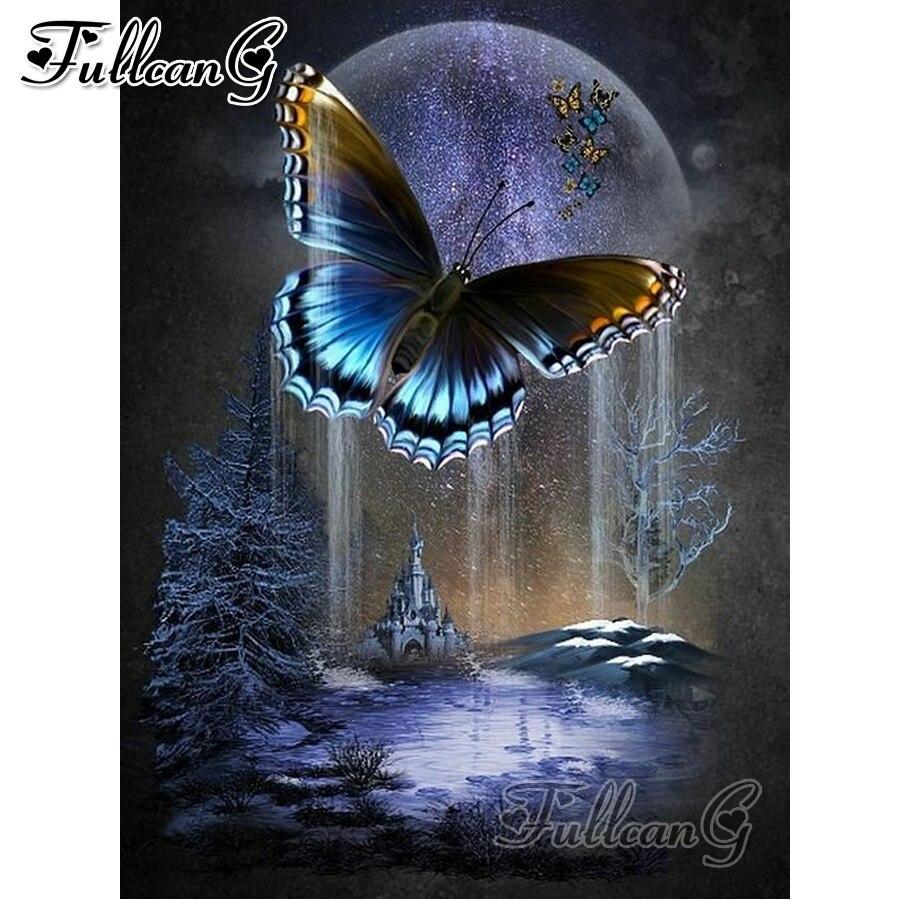 FULLCANG fantasía Castillo de mariposa pintura completa taladro 5d diy diamante bordado pedrería mazayka animales FC1886
