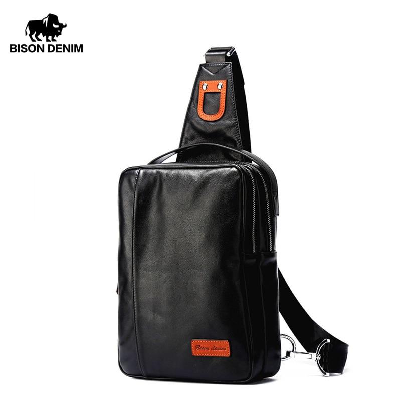 BISON DENIM Chest Bag Genuine Leather Crossbody Bags Men Multifunctional Zipper Shoulder Casual Waist Pack N2425
