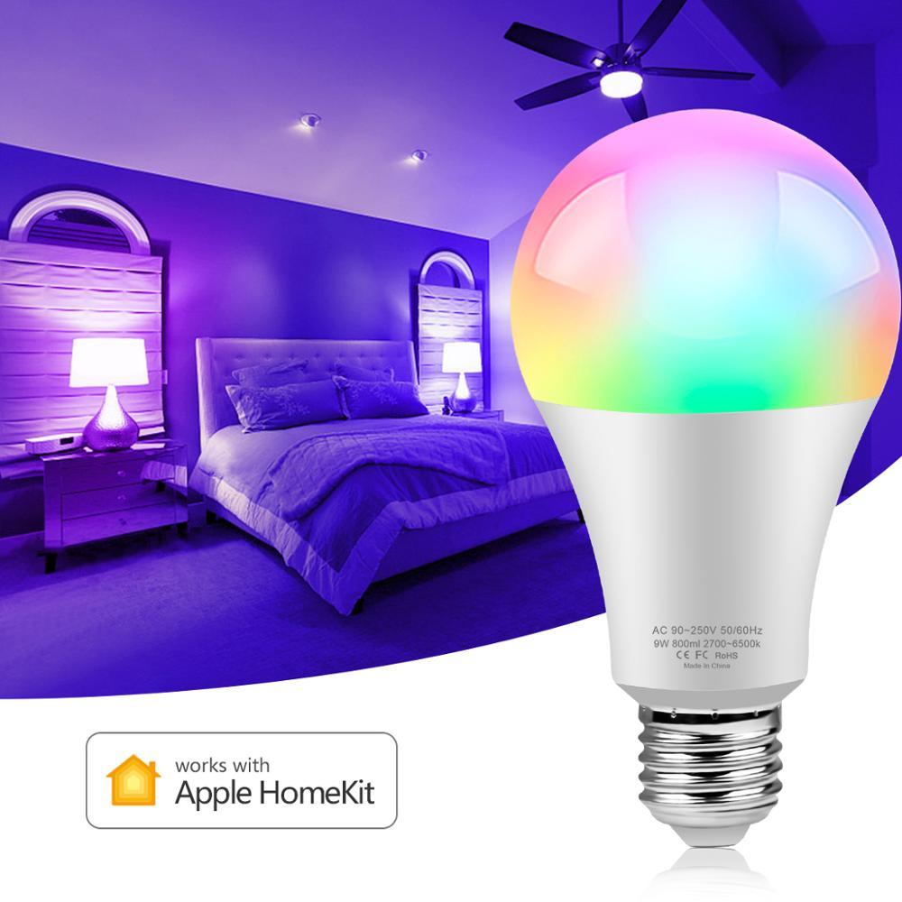 Homekit De Apple App inteligente led lámpara de bombilla WiFi E27 luz RGB Control por voz de Siri, 16 millones de colores completo iluminación hogar inteligente para IOS