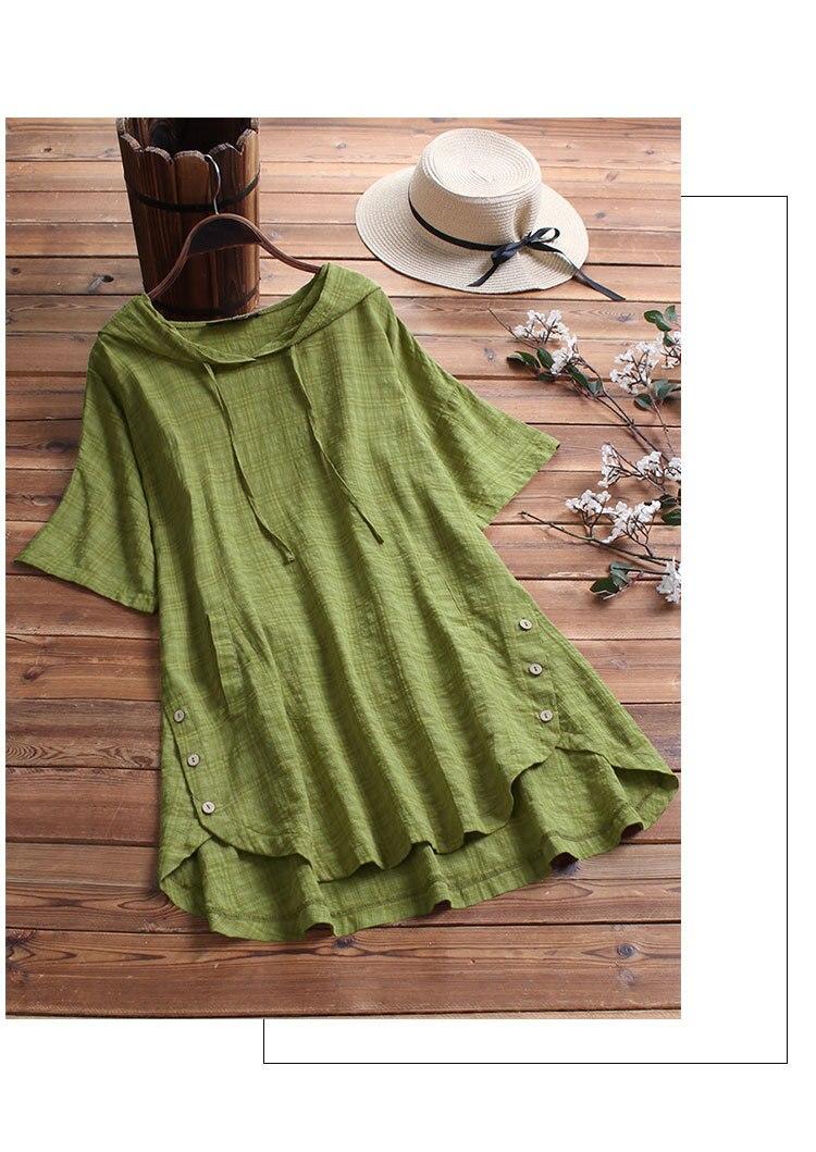 Camisetas de algodón para mujer, Media manga de verano, cuello redondo con encaje, camiseta femenina, camisetas informales blancas negras, clásicas y básicas con botones para mujer