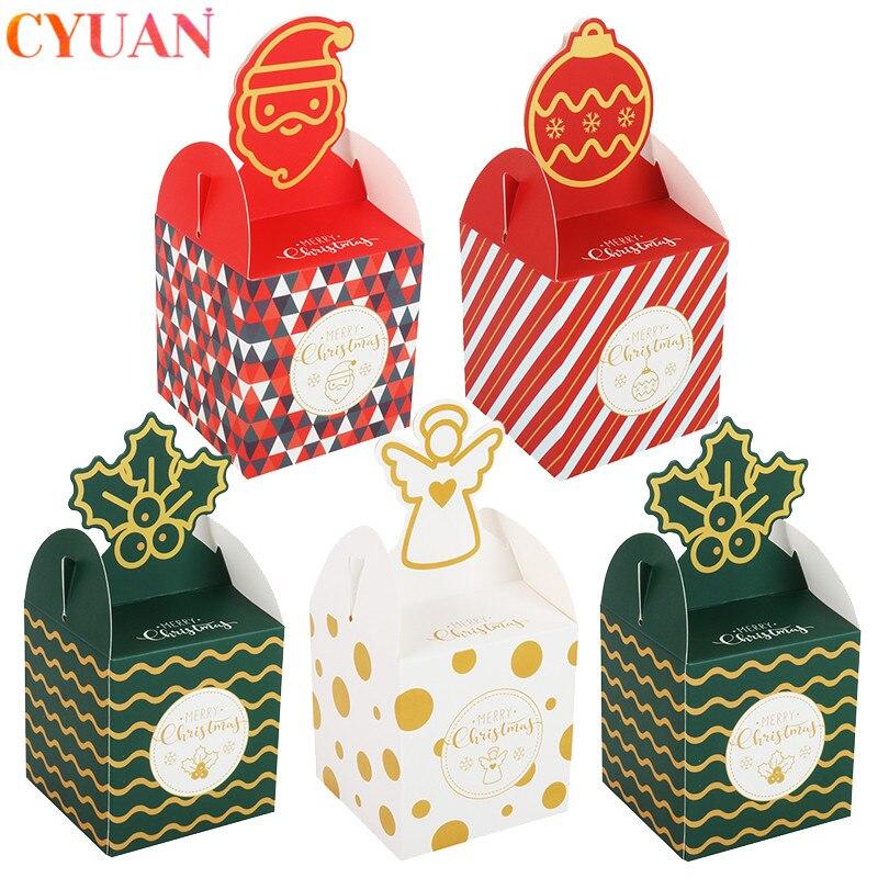 8 pièces emballage de noël coffrets cadeaux bonbons sacs père noël boîte cadeau Natal 2020 cadeau de noël nouvel an fête faveurs boîte fournitures