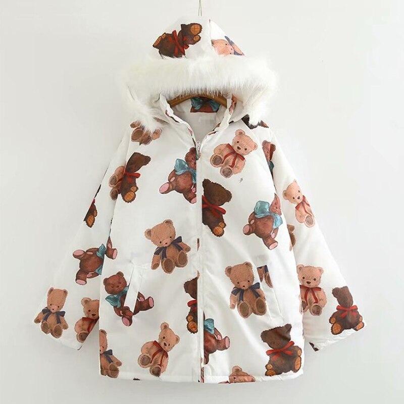 Harajuku Parkas Kawaii chaqueta Impresión de caricatura de oso invierno abrigos acolchados mujer 2020 moda japonesa prendas de vestir abrigo Suelto