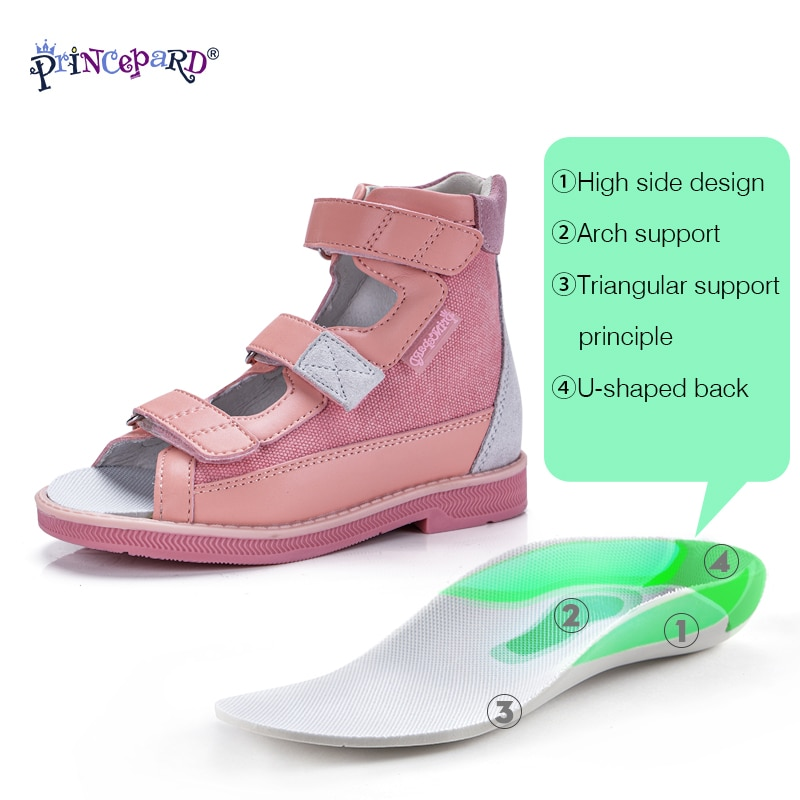 Orthopedic Shoes Kids Girls Princepard Summer Pink Princess Sandals with Correcting Insoles for Arch Support Care Ankle-Wrap enlarge