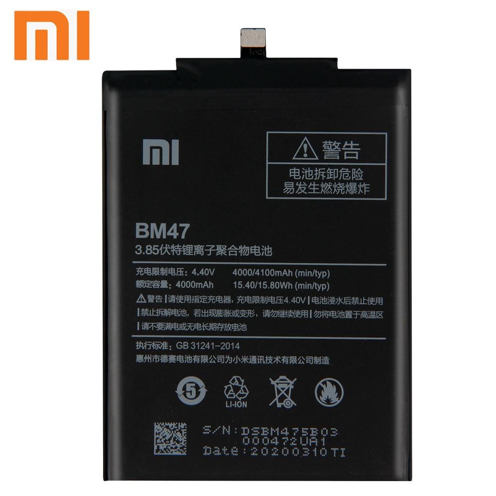 Xiao Mi Xiaomi BM47 Phone Battery For Xiao mi Redmi 3 3S 3X Hongmi 4X Redmi3 Pro Redmi 4X BM47 4000mAh Original Battery + Tool enlarge