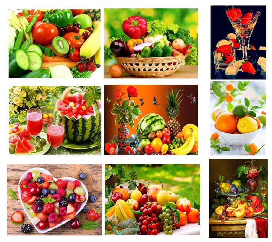 5D DIY יהלומי ציור פירות ענבים מטבח בית נוף תפר צלב תמונת בית תפאורה