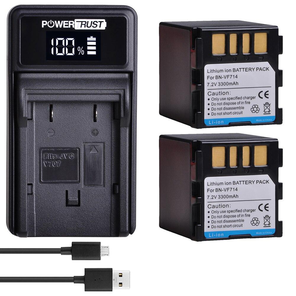 2x3300 mAh BN-VF714 Batterie + LED USB Ladegerät für JVC BN-VF707, BN-VF707U BNVF707, VF707 BN-VF714 BN-VF733 GR-D240 Batterien