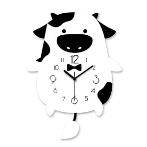 Animal Cow Creative Mute Modern Design Large Wall Clock Silent Clocks for Home Kitchen Living Room Decor Battery Operated