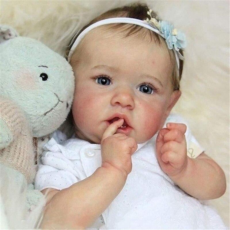 دمى أطفال واقعية جديدة من Saskia موديل 2021 عيون رمادية للبنات دمى من السيليكون بالكامل