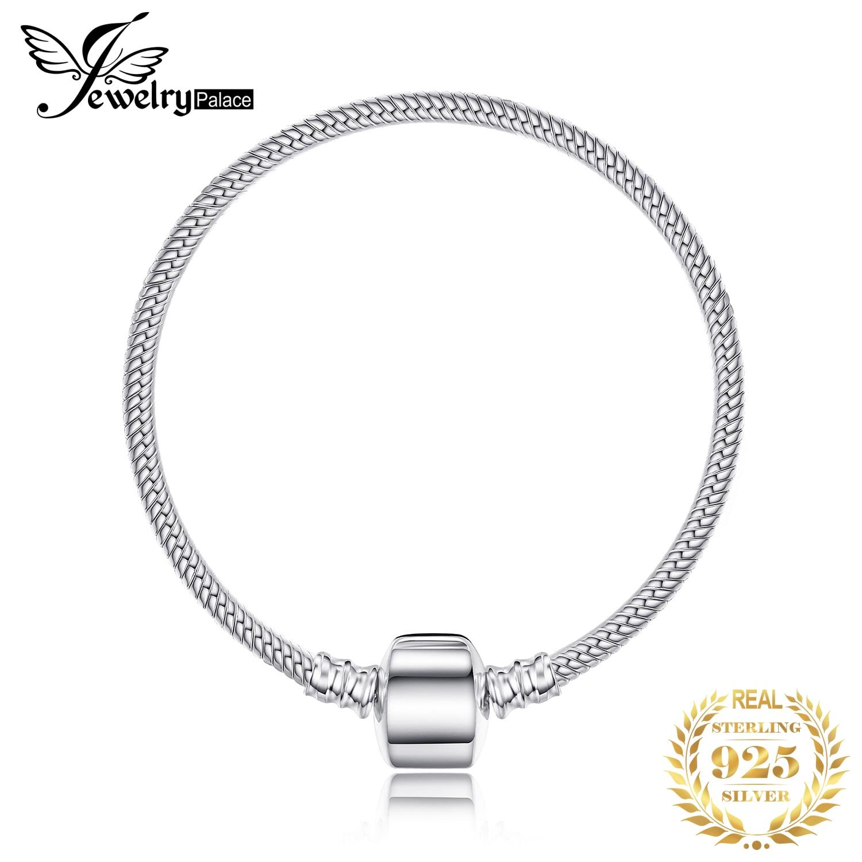 Jewelrypalace 925 Sterling Silver Bracelet Snake Chain Bangle Bracelets For Women Bracelet Fit Beads Charms Silver 925 original