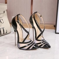 new ladies high heels net red sexy female sandals hollow high quality wedding womens shoes 16cm pointed stiletto 4 14 15