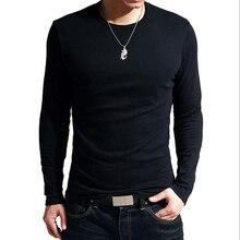 2021 Elastic Mens T-Shirt V-Neck Long Sleeve Men T Shirt For Male Lycra And Cotton T-Shirts Man Clot