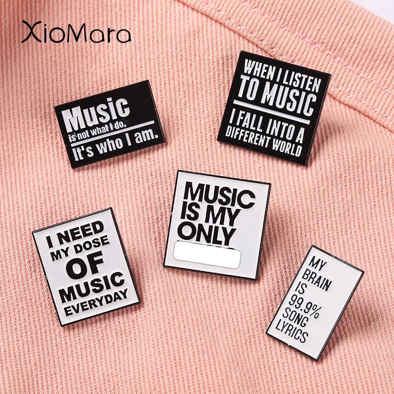Music Quotes Enamel Pin Black White Letter Saying Metal Brooches Collar Backpack Decoration Gift for