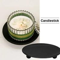 iron plate candle holder metal glod or black pillar candlestick wedding party festival home decor candle stand for wax candles