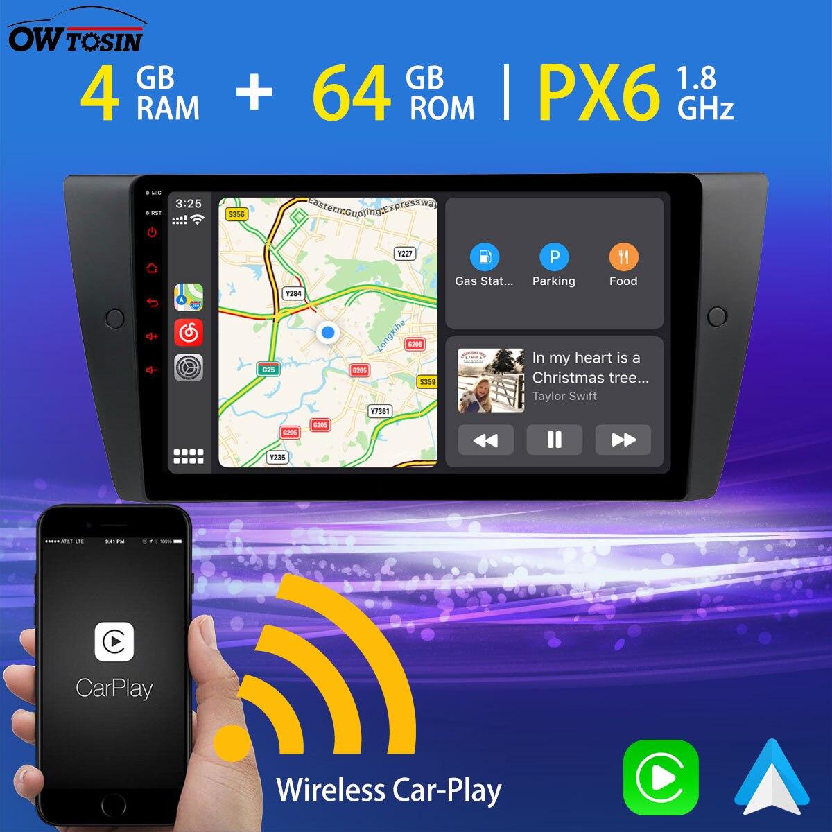 9'' PX6 4G+64G Android auto Car Multimedia Player For BMW 3 Series E90 E91 E92 E93 M3 GPS Navigation Radio Carplay HDMI WiFi