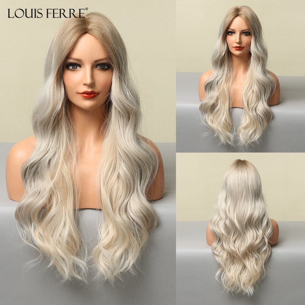 LOUIS FERRE Synthetic Ombre Light Blonde Wigs for Women Long Natural Wave Middle Part Platinum Wigs Cosplay Heat Resistant Fibre