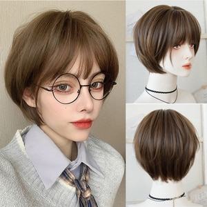 synthetic female short wig linen brown/cold brown wig bobo short curly hair synthetic heat-resistant wig.
