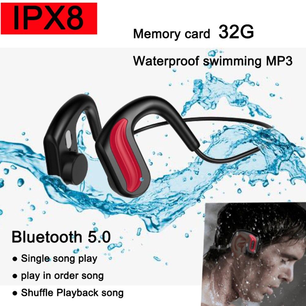 أحدث IPX8 مقاوم للماء مشغل موسيقى MP3 العظام التوصيل سماعة السباحة Diving32GB المدمج في الذاكرة سماعة ل شاومي هواوي