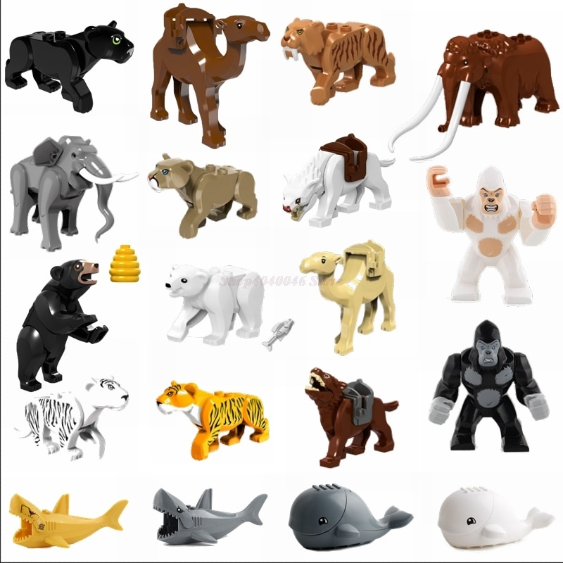 Legoing الحيوانات اللعب كتل حديقة الفيل الذئب ليوبارد الأسود الدب القرش الحوت القرد لعبة للأطفال الحيوانات Legoings أرقام