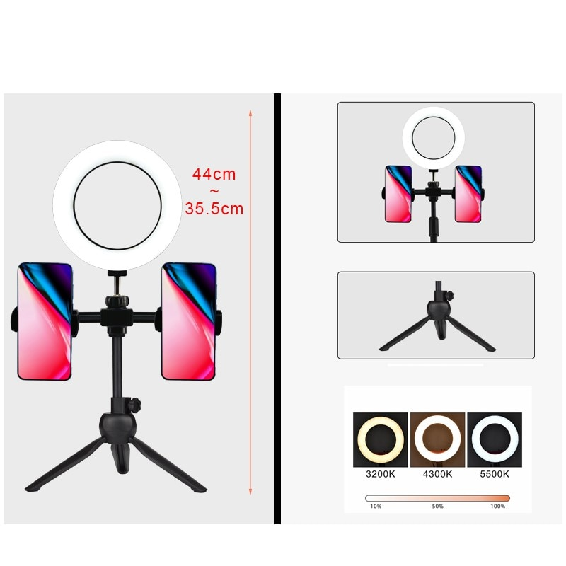zomei 10inch selfie led ring light with stand camera studio light ring for smartphone with phone holder for live video makeup 6 LED Ring Light Photographic Selfie Ring Lighting with Stand for Smartphone Youtube Makeup Video Studio Tripod Ring Light