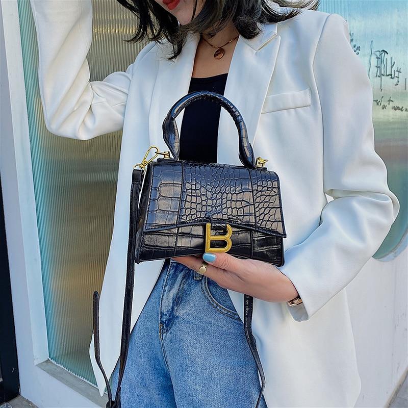 2021 New Designer Luxury Top-Handle Tote Women Alligator Leather Hourglass Shoulder Bag Girl Brand B Metal Crossbody Bags Female