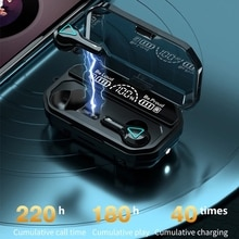 Wireless bluetooth headset 5.1 wireless headset LED display with flashlight ipx7 waterproof high fid