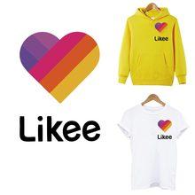 Likee App Patches Sticker Op Kleding Warmtegevoelige Diy Vrouwen T-shirt Hoodies Ijzer Op Transfers Voor Kleding Regenboog Hart patch