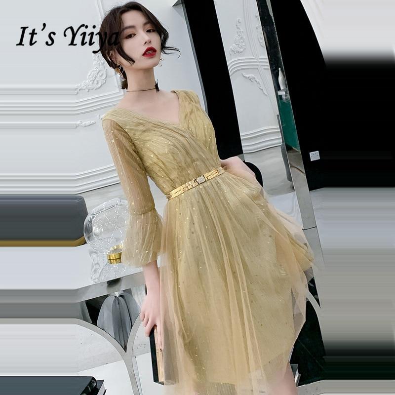 Its Yiiya Cocktail Dress Elegant Gold Shining Party Dresses V-neck Tea Length Formal 2020 Plus Size Robe LF066