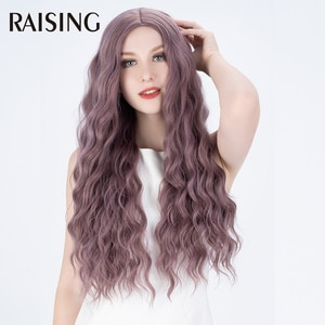 Raising Synthetic Body Wave White Wig Natural Hair Cosplay Full Machine Wigs For Women 28 inch Ombre Long Cheap Hair Purple Wig