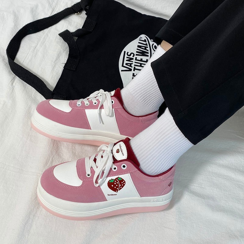 Strawberry Sneakers Women's Sports Shoes Platform Round Head Footwear 2021 Spring Fashion New College Style Lolita Casual Flats