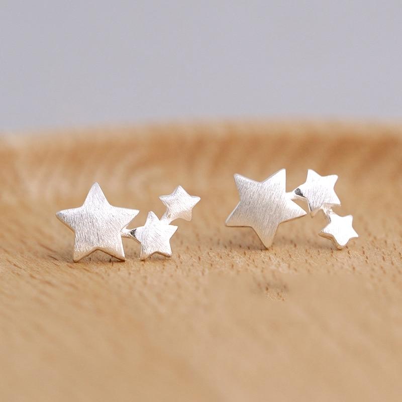Pendientes de plata de ley 925 con broche de estrella para mujer,...