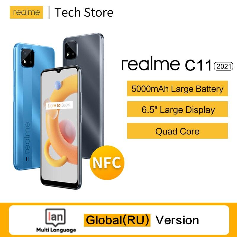 Перейти на Алиэкспресс и купить Смартфон realme C11, 2021 дюйма, 2 + 32 ГБ, 6,5 мАч, 10 Вт, NFC