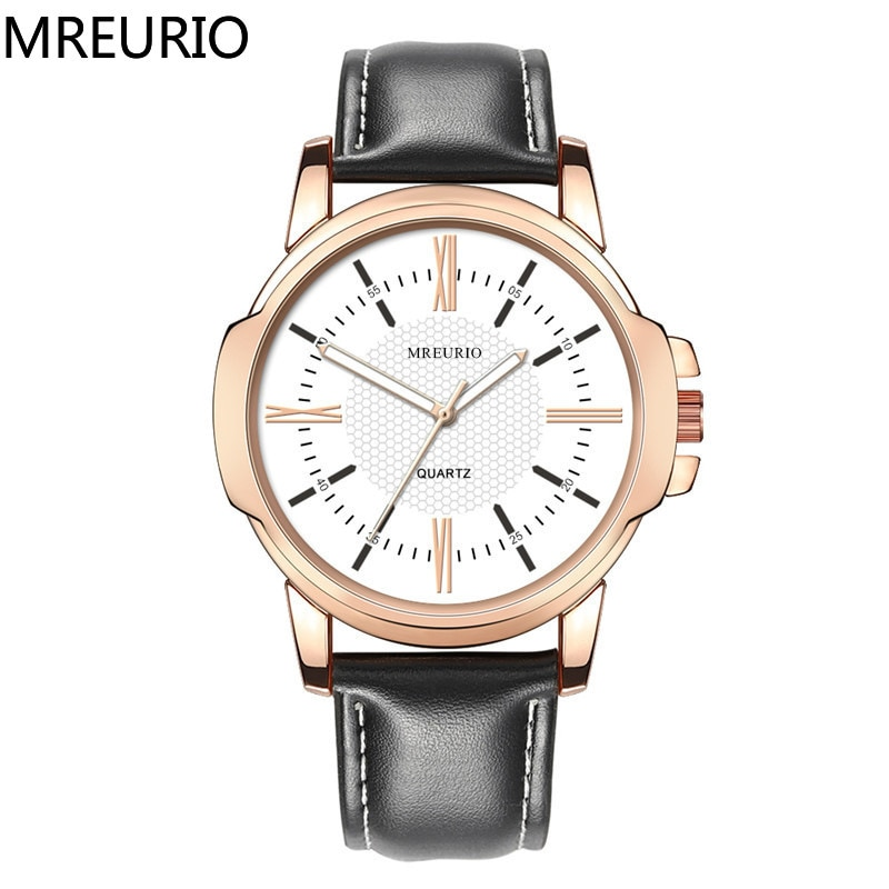 MREURIO Men's Watch Luxury Big Dial Quartz Retro Elegant Roman Numerals Bright Leather Band Simple Business Female Wristwatches enlarge
