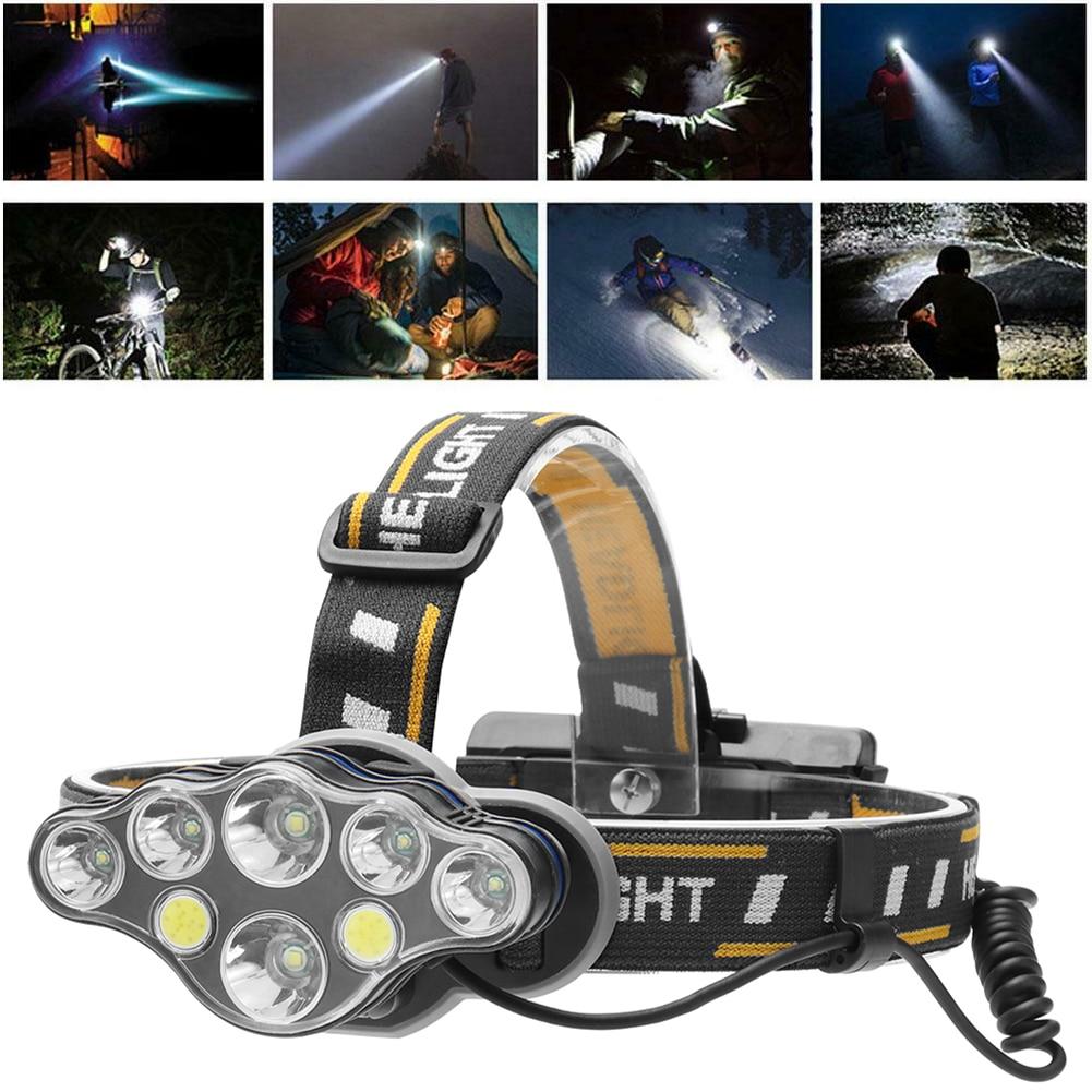 100 000LM 8 modos 2 * T6 + 4 * XPE + 2 * COB 8-lámpara recargable faro linterna faro XPE T6 LED linterna