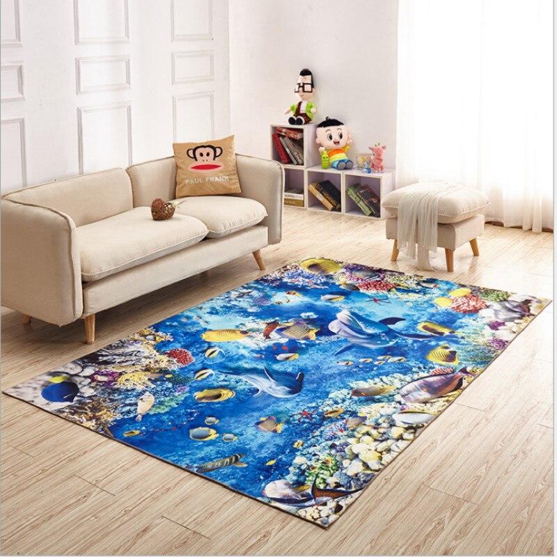 3D Cartoon Ocean World Shark dywan do składania mata antypoślizgowa dywaniki salon dywan do sypialni dekoracja pokoju dziecięcego bajka dywan