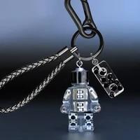 robot punk cpu genuine leather lanyard key chain men women pattern gunmetal buckle car key ring holder jewelry gift key chains