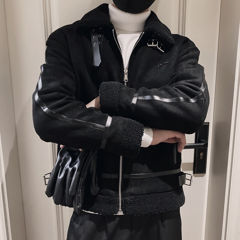 جاكيت تويد عصري للرجال ، جلد دافئ ، ملابس الشارع ، المشي ، الكلية ، Eg50jc