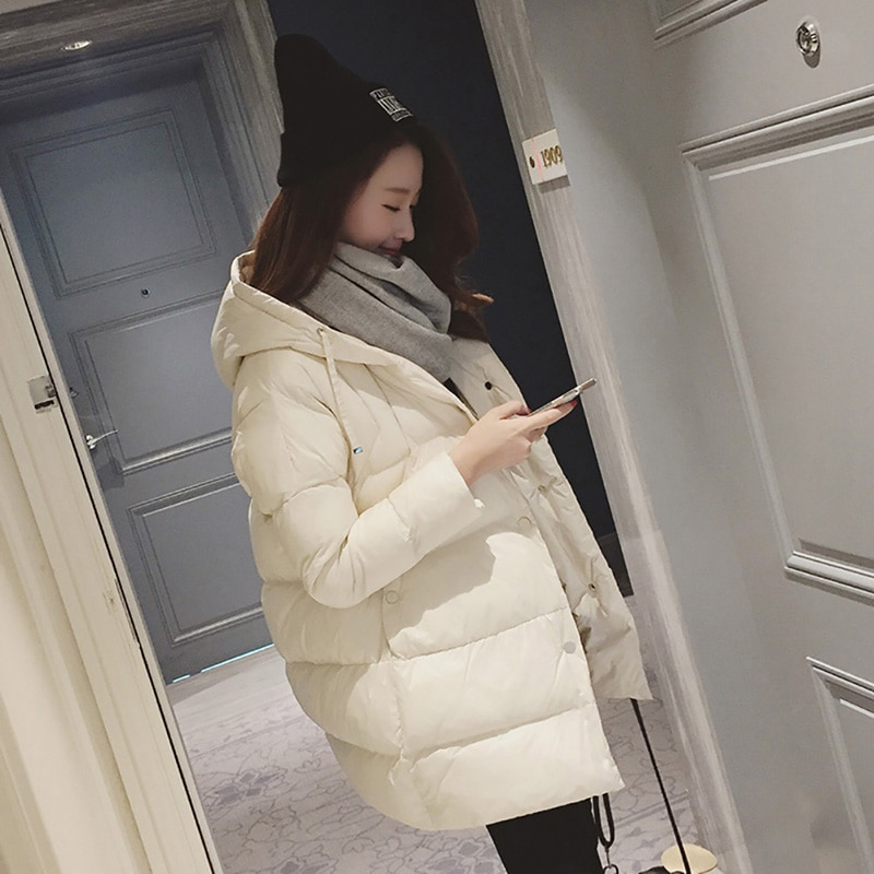 Winter Coat Women Solid Outwear Medium-Long Wadded Harajuku Snow Parka Thickness Cotton Warm Down Jacket Plus Size Outwear