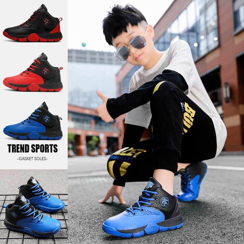 Children Basketball Shoes Boys Girls Four Seasons Sports Shoes Baby Soft Microfiber Running Shoes Junior Cement Floor Sneakers