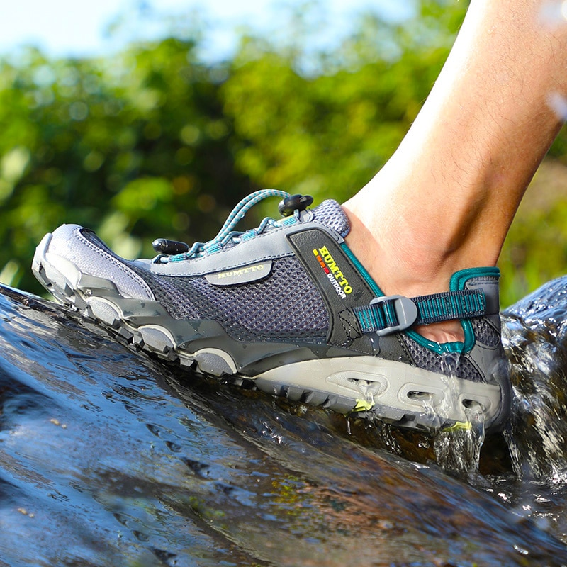 gomnear breathable mesh water shoes male outdoor swimming beach shoes big size anti skid sports trekking shoes summer sneakers HUMTTO New Big Size Water Shoes for Men Summer Outdoor Hiking Shoes Breathable Trekking Aqua Fishing Beach Sandals Sneakers Mens