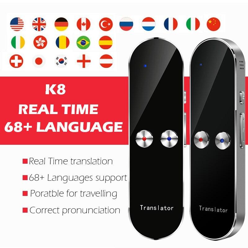 Traductor de voz instantáneo portátil inteligente compatible con 68 países traducción de tres vías Multi-idioma traductor de voz