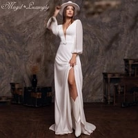 luxury a line chiffon wedding dresses lantern sleeve backless gowns deep v neck sexy high split belt tailor made