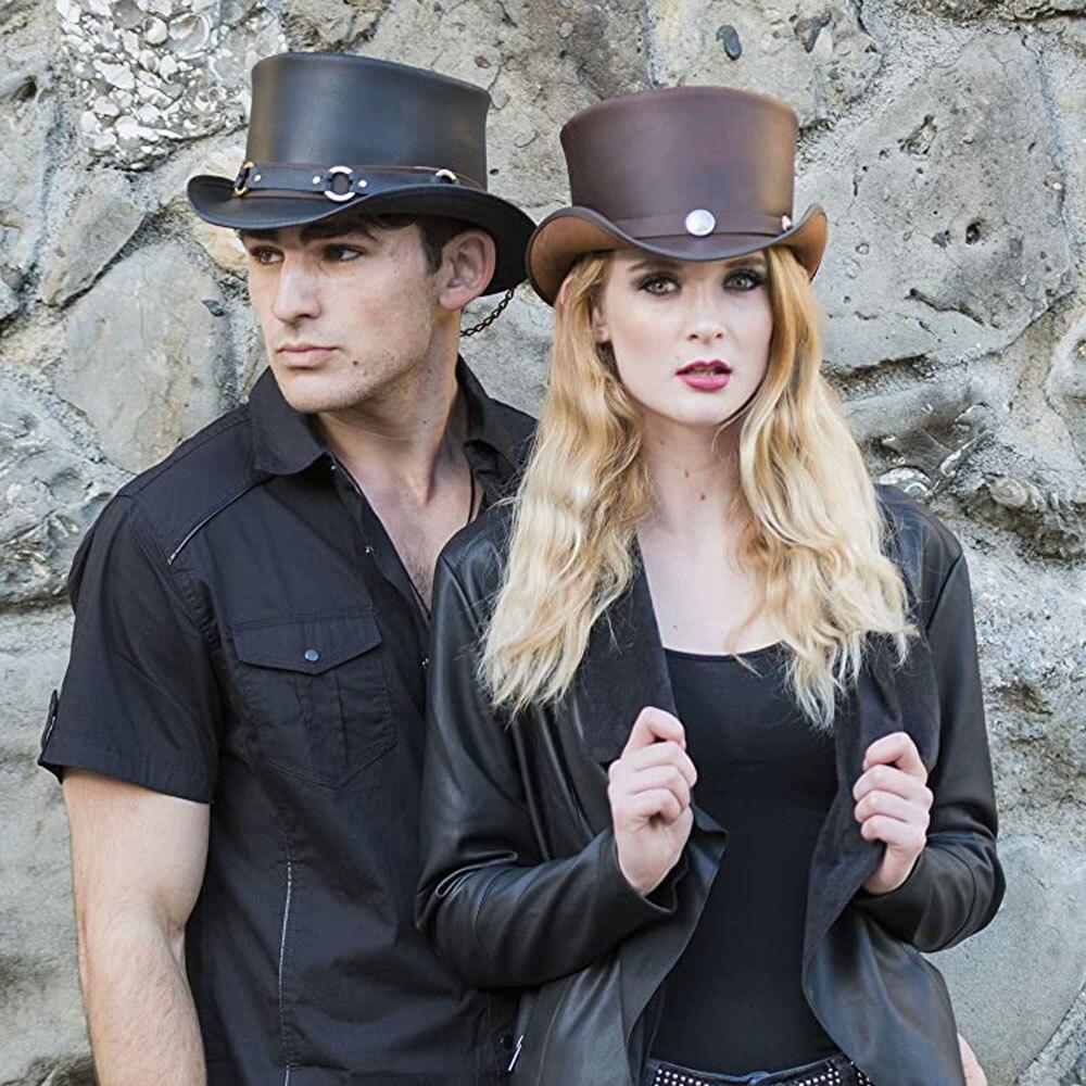 3 Size Women Men Leather Top Hat Punk Flat Fedora Hat Magic Pork Pie Steampunk Cosplay Party Cap Dropshiping 13CM